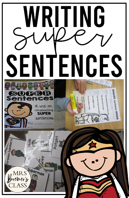 Sentence writing activity pack for practice with capital letters, punctuation, & writing complete sentences for First Grade & Second Grade