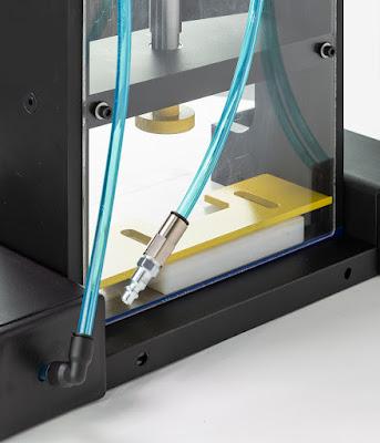 Laboratory custom pneumatic flat bed press for small steel rule die