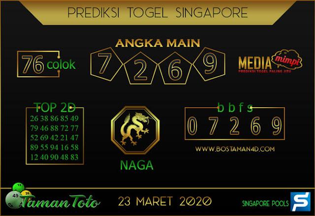 Prediksi Togel SINGAPORE TAMAN TOTO 23 MARET 2020