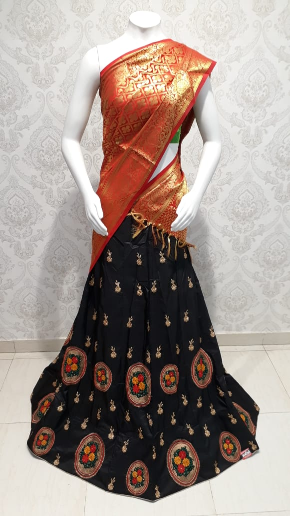 Black lehenga with banarasi marun dupatta All over theard resham work