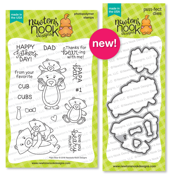 Papa Bear Stamp Set  and Die Set by Newton's Nook Designs #newtonsnook
