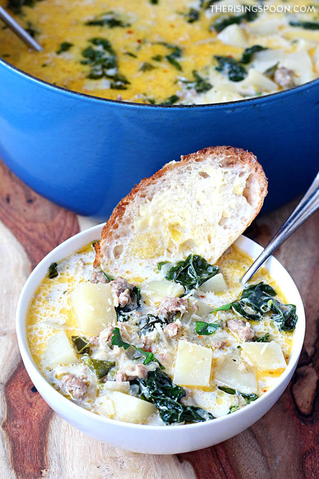 Easy One-Pot Creamy Potato & Sausage Soup (Spicy Zuppa Toscana)