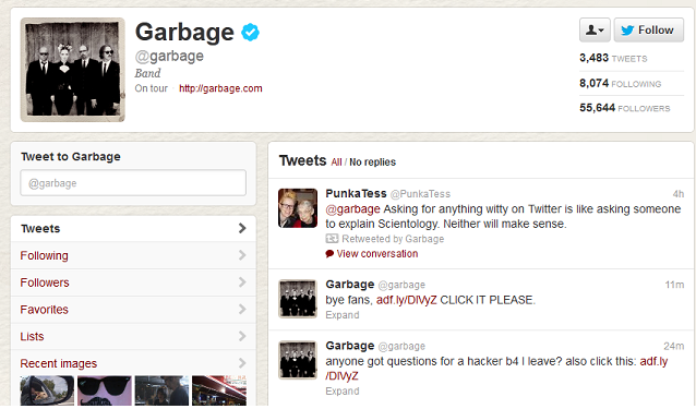 Rock band 'Garbage' twitter account Hacked to spam monetized link