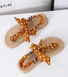 Polka Dot Bow Knot Thong Sandals