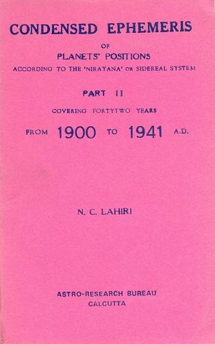 Astro Research Bureau, Kolkata   Lahiri's Indian Ephemeris of