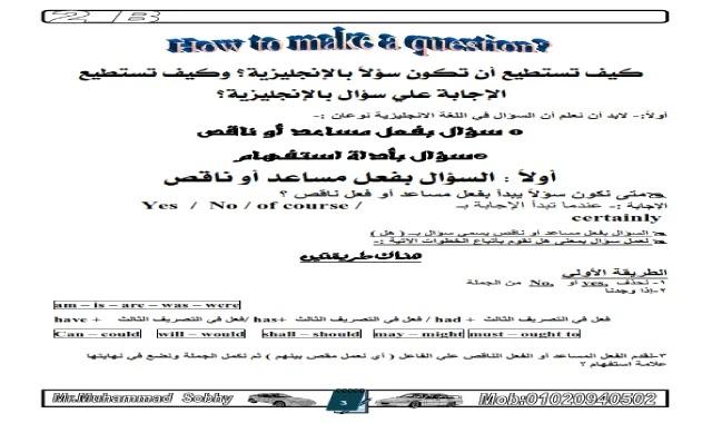 كيف تستطيع ان تكون سؤال او تجيب على سؤال باللغة الانجليزية والاجابة على سؤال المحادثة مذكرة تعليم والتدريب على تكوين الاسئلة وحل المحادثة