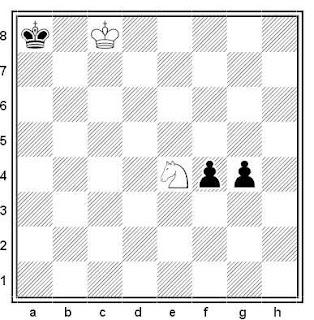 Final de ajedrez: Caballo contra dos peones ligados en quinta