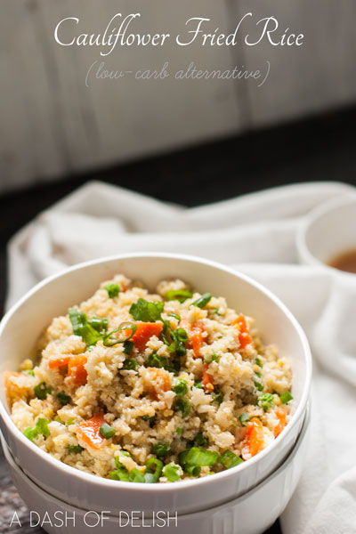 low carb fried rice, cauliflower fried rice, healthy fried rice, low carb recipe, poultry, rice substitute, vegetables, vegetarian fried rice, veggie fried rice, a dash of delish,