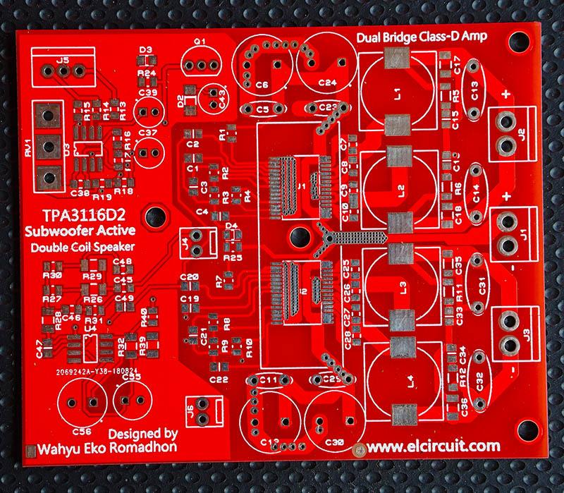 Subwoofer Power Amplifier Class-D Dual Bridge TPA3116D2