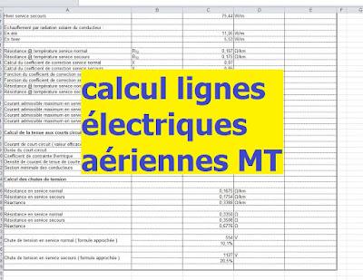 Calcul lignes électriques aériennes MT avec excel