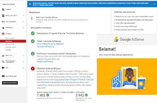 Masa Peninjauan Monetisasi Youtube dan Tanda Channel Diterima Adsense