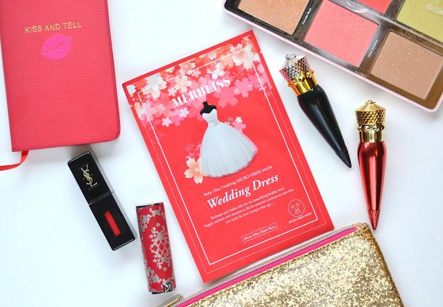 flatlay of merbliss wedding dress ruby sheet mask