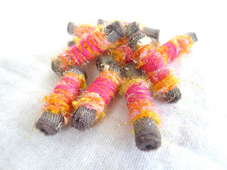 perles textile, fiber beads, couture, rose, orange, Lurex