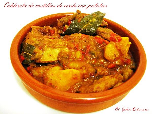 Caldereta o guiso de costillas de cerdo con patatas el saber culinario - Lentejas con costillas y patatas ...