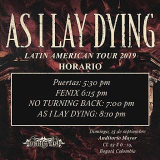 HORARIOS AS I LAY DYING + NO TURNING BACK en Bogotá