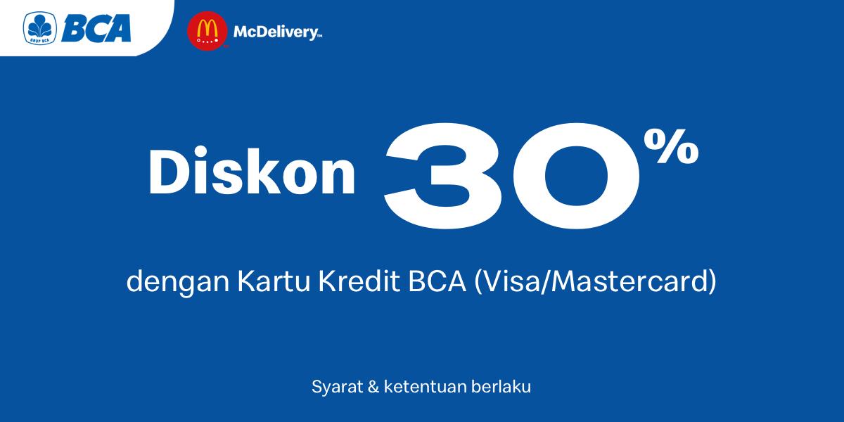 Promo McDonalds Diskon 30% Dengan Kartu Kredit BCA (VisaMaster Card)