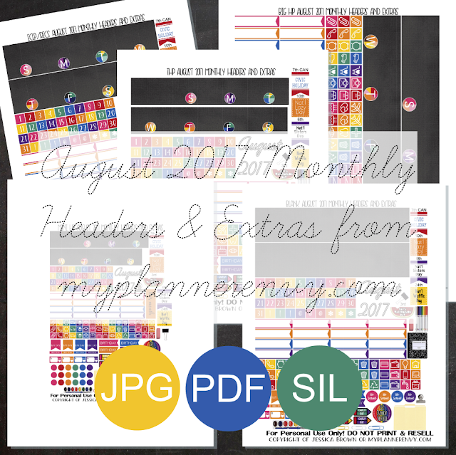 Free Printable August 2017 Monthly Headers & Extras from myplannerenvy.com