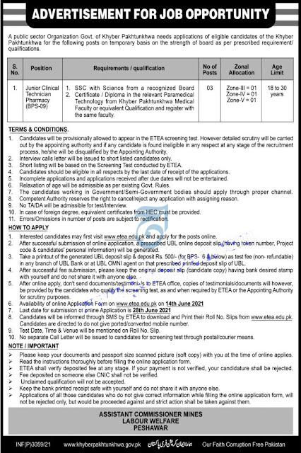 ETEA jobs in Mines Labour Welfare Department KPK Latest 2021