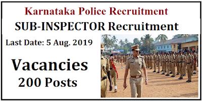 KSP Recruitment for 200 Sub Inspector Posts 2019