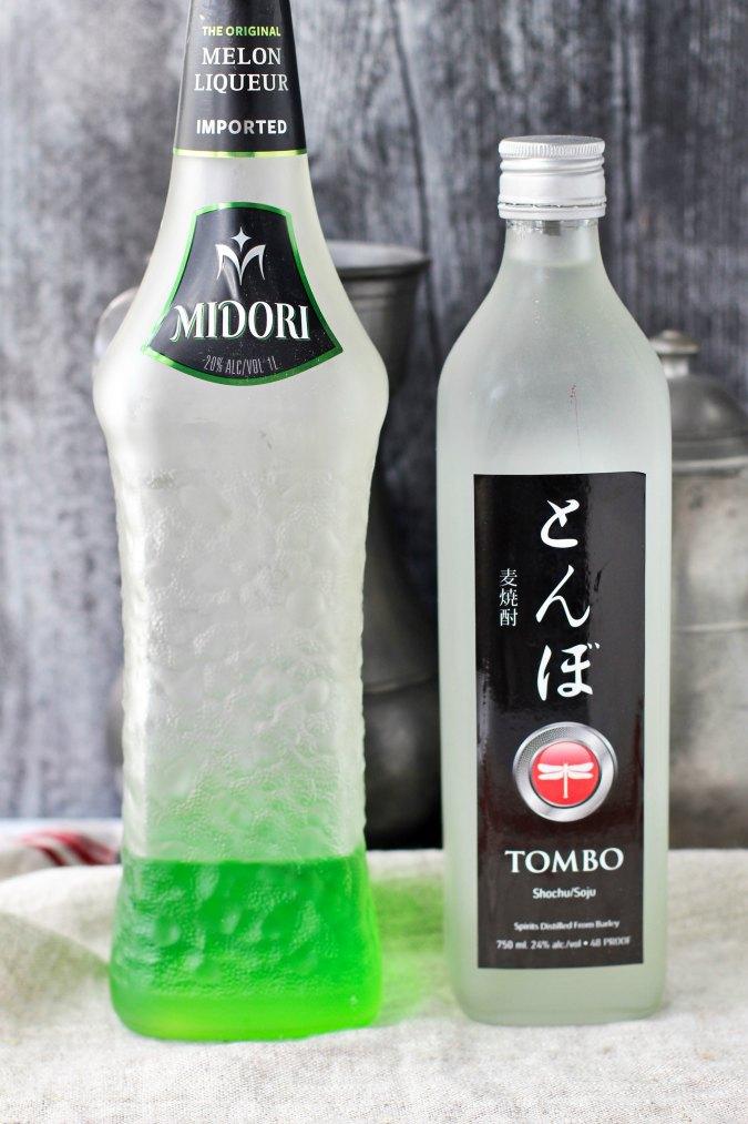 Watermelon martini with Midori liqueurs