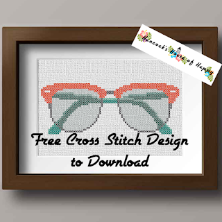 Free Cross Stitch Pattern for a Pair of Hipster Style Eyeglasses