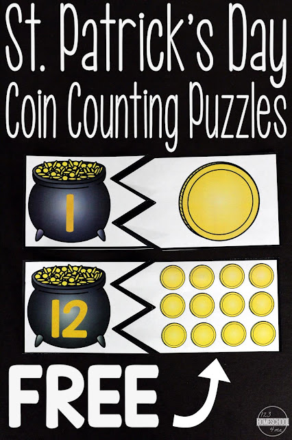FREE St Patricks day Counting Puzzles - these are such a fun way for preschool, prek, and kindergarten age kids to practice counting and identifying numbers with a fun spring and St. Patrick's day theme