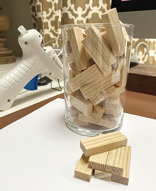 tumbling blocks in a vase with glue gun