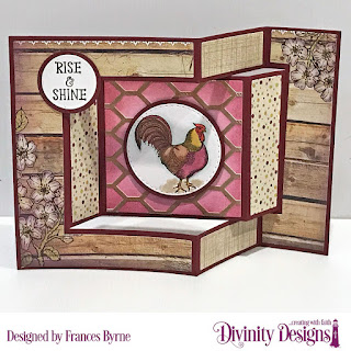 Stamps: Rise & Shine, Custom Dies: Tri-Fold with Layers, Chicken Wire, Circles, Double Stitched Circles, Paper Collection: Rustic Beauty