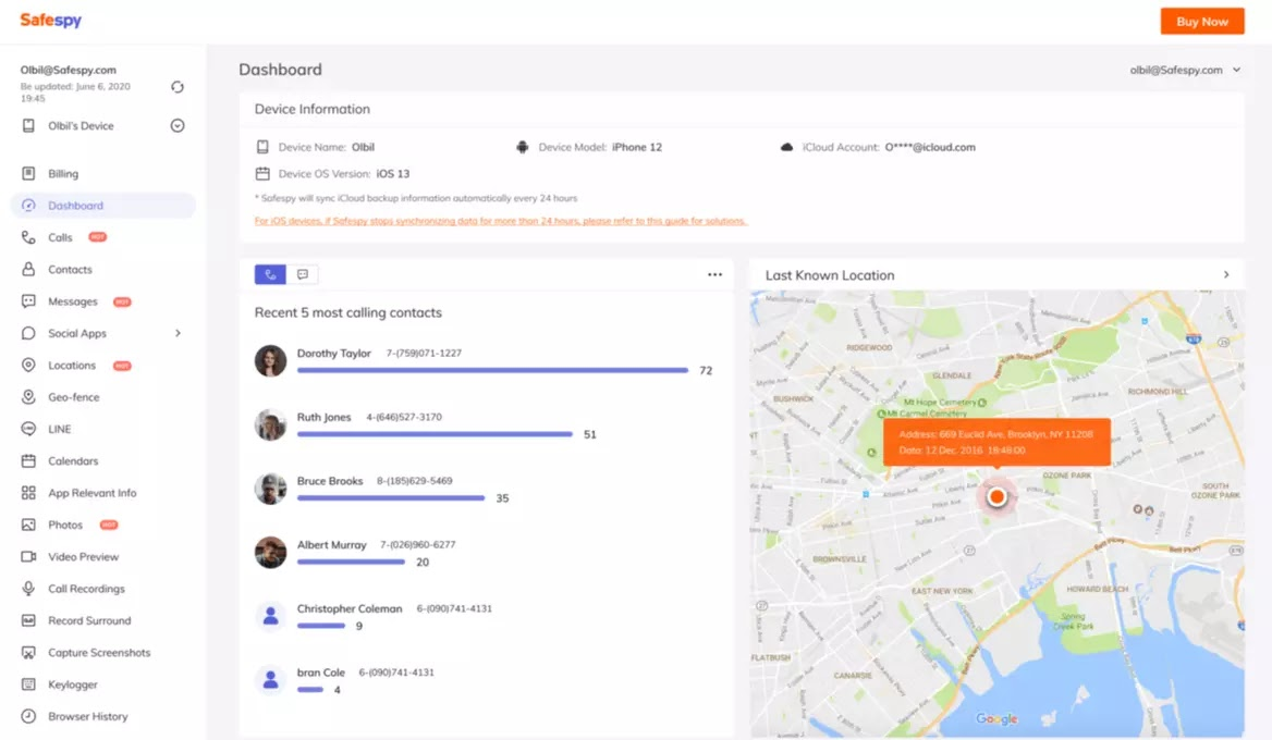 safespy features and dashboard