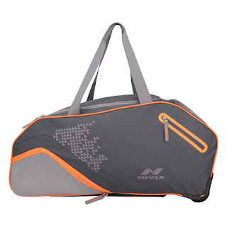 Nivia ASHTANG Trolly Duffel Bag-Grey Orange