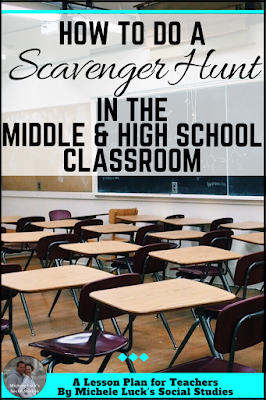 Great how-to tips and ideas for teachers doing scavenger hunt activities in the middle or high school classroom. Fun for students and filled with content for learning! Check out how easy it is to do!