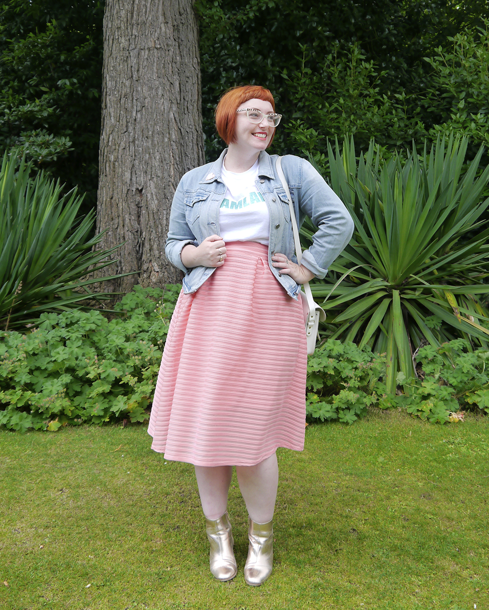 Fashion blogger Helen from Wardrobe Conversations wears a candy coloured outfit