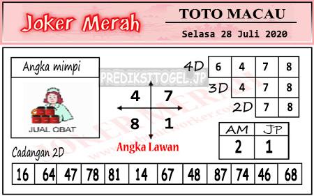 Prediksi Joker Merah Toto Macau Selasa 28 Juli 2020
