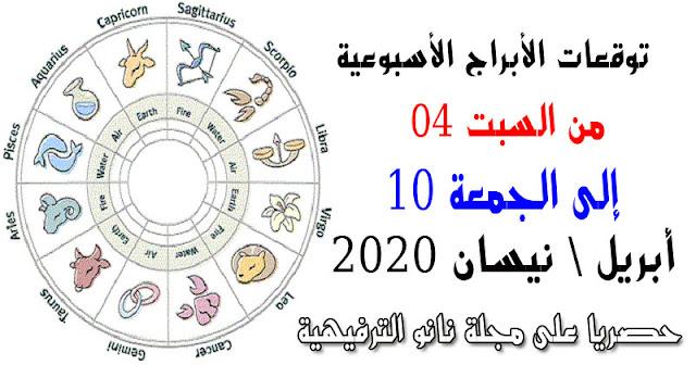 توقعات الأبراج لهذا الأسبوع من السبت 04 الى الجمعة 10 نيسان / أبريل 2020