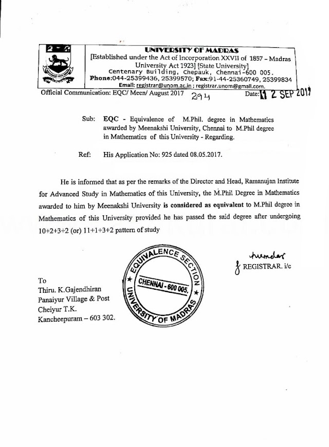 MEENAKSHI UNIVERSITY M.PHIL EQUAL TO MADRAS UNIVERSITY M.PHIL-ORDER