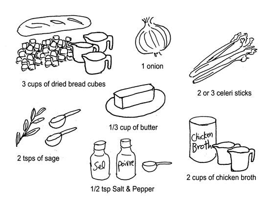 stuffing ingredients by Yukié Matsushita