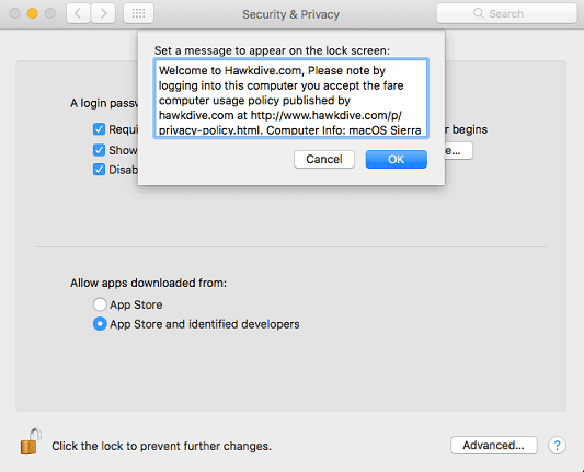 Set a custom Welcome Message to Login Screen in Mac