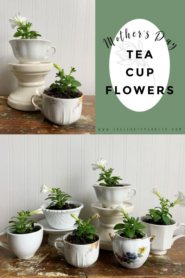 Mother's Day Tea Cup Flowers Pinterest pin.