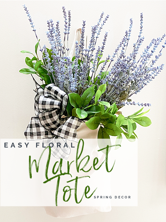Market tote with flowers and overlay