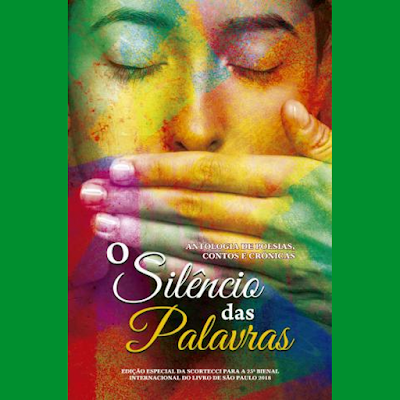 Capa do livro O Silêncio das Palavras - Mulher tapando a boca, mosaico colorido filtrando a capa