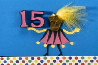 Masked creatures present numbers from 1 to 15. Masked March 15. Sesame Street 123 Count with Me