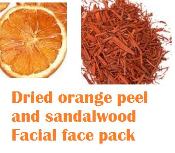 Dried orange peel and sandalwood Facial face pack