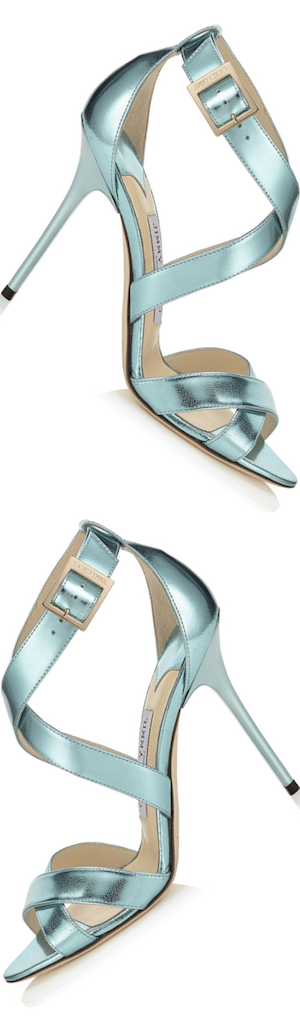 Jimmy Choo Lottie Cool Mint Etched Mirror Leather Sandals