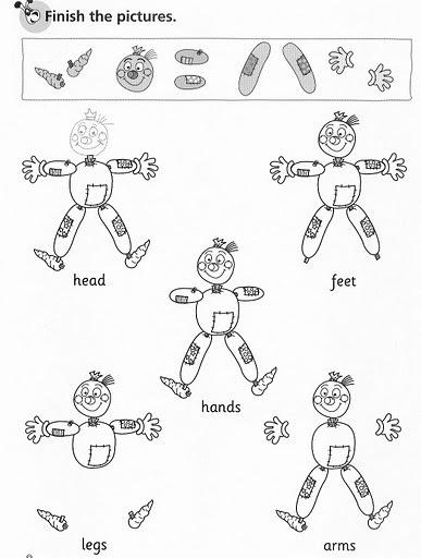 Fichas de Inglés para niños: Fichas del cuerpo en inglés