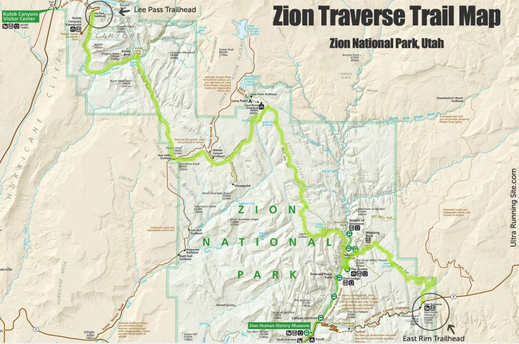map to zion national park