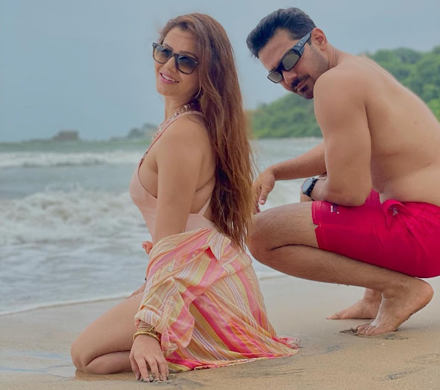 Rubina Dilaik Sets Temperatures Soaring With Her Photos In Peach Swimsuit