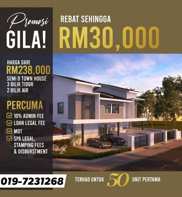 Rumah Semi-D Town House bawah harga RM250K di Sitiawan Perak