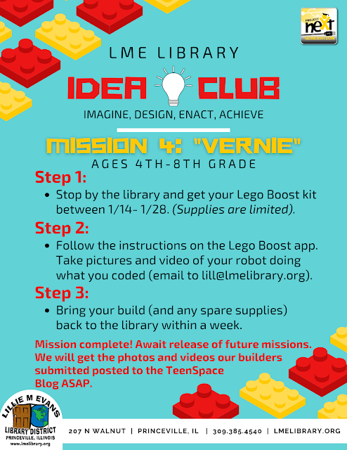 IDEA Club Mission 4: Vernie the Robot Pickup 1/14 - 1/28/21. Only 1 week checkout.