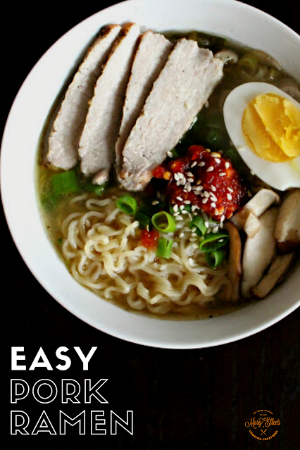Quick and Easy Pork Ramen! A rich, miso broth with mushrooms and bok choy. Add noodles, sliced pork, green onions, an egg, and sambal. Weeknight meal!
