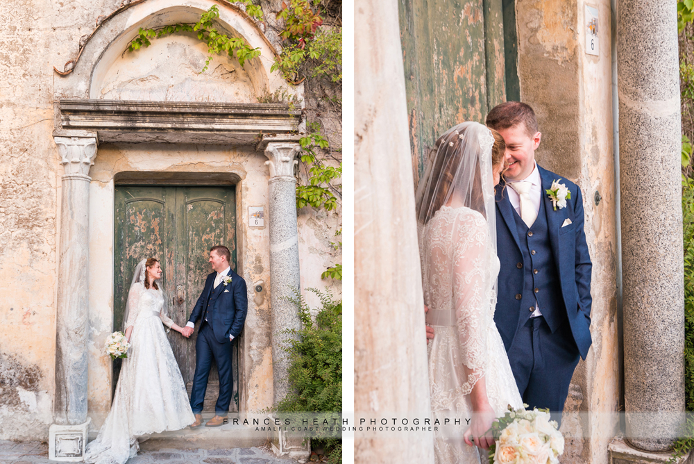 Bride and groom portrait in front of green door in Ravello